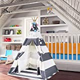 TOUCH-RICH Durable Teepee for Kids 6 ft 4 Poles Indian Play Tent Sturdy & Safe Kids' Furniture with Window & Floor (Stripe Grey Teepee)