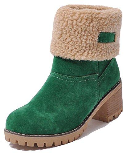 Aisun Womens Casual Warme Fleeced Pull Op Ronde Neus Slofjes Winterblok Mid Hielen Snow Enkellaarsjes Schoenen Groen