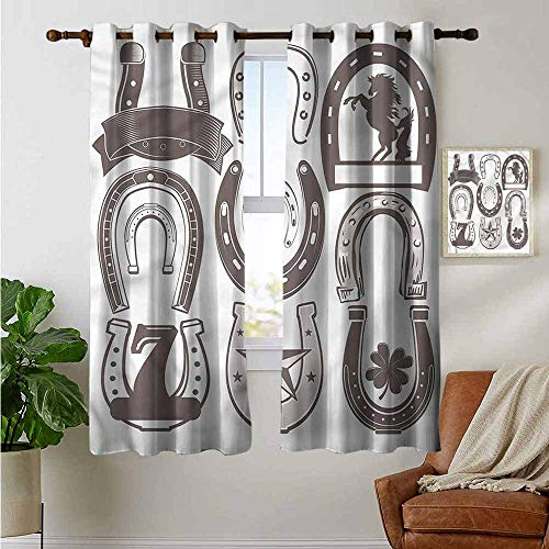 petpany Grommet Curtains Horseshoe,Lucky Number Seven Star,Blackout Draperies for Bedroom Window 52