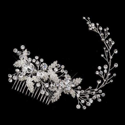 Dalia Rhinestone & Crystal Leaf Vine Wedding Bridal Occasion Comb by Special Moments LLC