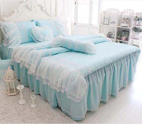 青緑の掛け布団カバーセット/可愛いベッドスカート/枕カバー クイーン B01G1ZQX5I