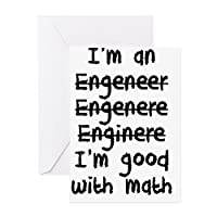 CafePress - I'm An Engineer I'm Good At Math Greeting Cards - Greeting Card, Note Card with Blank Inside, Birthday Card or Special Occasion Matte