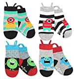 Boys, Girls, Kids, Toddler Socks, Seamless, Non Skid Grips Animal Ez Socks (Medium, Monsters)