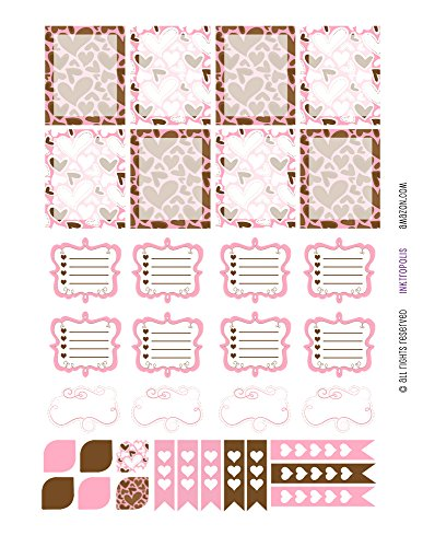 Monthly Planner Stickers Pink and Chocolate Fancy Sampler Stickers Planner Labels Compatible with Erin Condren Vertical Life Planner