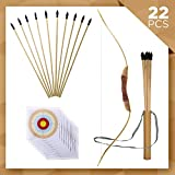 "kids archery target - UteCiA Complete Archery Set For Kids & Beginners – 34"" Handcrafted Wooden Bow, 10 - Pc 18"" Safety Rubber Tip Arrow Pack, Quiver, 10 Target Sheets – Outdoor and Indoor Shooting Toy For Aspiring Archers"