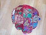 Iinfinize Indian 18'' Ottoman Pouf,Handmade Cushion Cover Cotton Floor Cushion Cover Vintage Embroidered Patchwork Meditation Floor Pillow Seat Pouf Cover,Living Room Vintage Patchwork Cushion Cover,