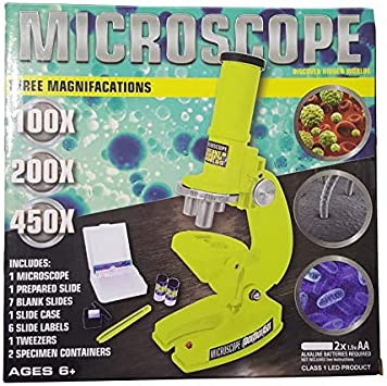 : Discover Hidden Worlds UP to 450X Yellow For Kids Kids Microscope-with 3 Magnifications
