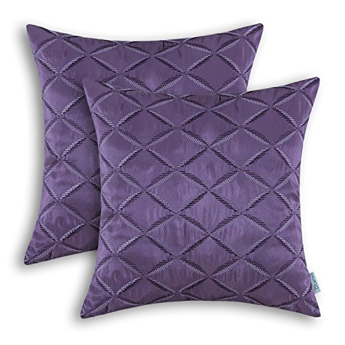 Purple Toss Pillow (Pack of 2 CaliTime Pillow Shells Cushion Covers Faux Silk Diamonds Chain Geometric Embroidered 18 X 18 Inches Purple)