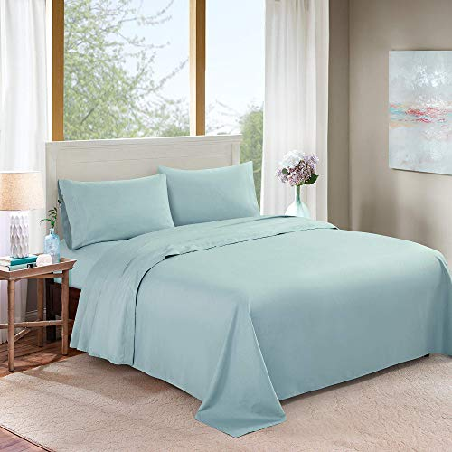 FOROOM 4 Piece Bed Sheet Set 100% Microfiber Polyester Sheets - Super Soft, Warm, Breathable, Hypoallergenic, Cooling, Wrinkle and Fade Resistant - 10-16'' Extra Deep Pockets (Lake Blue, Full)