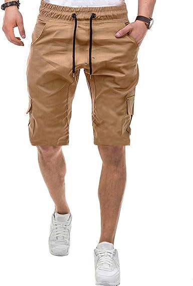 Ginli Pantaloni Corti Bermuda Cargo Pantaloncini Uomo Cotone Lavoro Pantaloni Tasconi con Elastico Pantofole Uomini Estive Casual Pantaloncino Sportivi