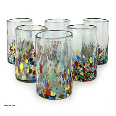 NOVICA Artisan Crafted Multicolor Hand Blown Recycled Glass Water Glasses 'Confetti' (set of 6)