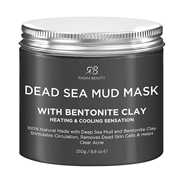 Radha Beauty Dead Sea Mud Mask with Bentonite Clay for Face & Body 8.8 oz - 100% Natural Formula to Treat Acne, Pores… 1