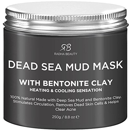 Radha Beauty Dead Sea Mud Mask with Bentonite Clay 8.8 oz - New Improved Formula for Face & Body
