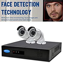 OWLTECH 4 Channel Face Detection 5MP NVR with preinstall 1TB HDD - 2 x 4MP 3.6mm IP Bullet Camera with Built in Microphone plus 100ft Cable and Accessories