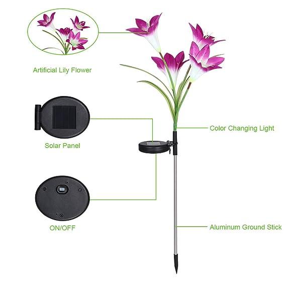 LIGHT LED Solare Steck picchetto lampada cambia Lampada fiore da giardino BIG