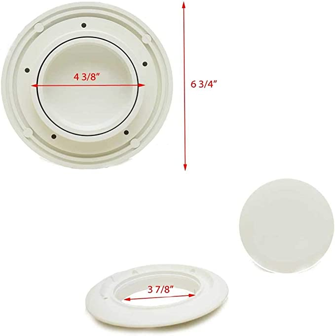 Jim Black Boat Deck Plate 586-4-05Pry Out 4 Inch Polar White