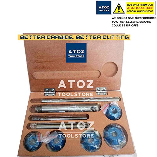 ATOZ.Toolstore 5X Carbide Tipped Cutter Set Small Engines Valve Seat Face Cutters 45, 70 (20 Bore Degree) + 1 Arbor Rod + 2 Guides + 1 Handle (2 and 3 Wheelers)