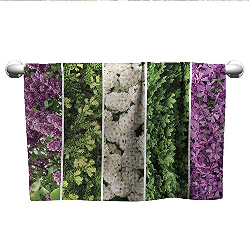 (Flower,Hair Towels for BoysCollage Mix Diverse Herbs and Blossoming Bouquet Flowers Romantic Wedding Concept Pool Gym Towels Green Violet W 28
