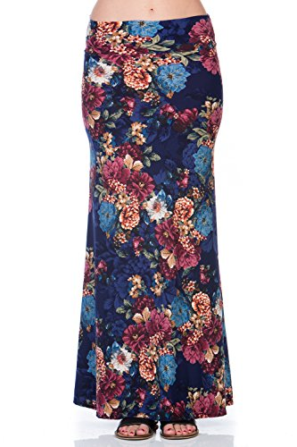 Hershe Women's Foldover High Waisted Floor Length Maxi Skirt (Large, 222SKBO Navy)