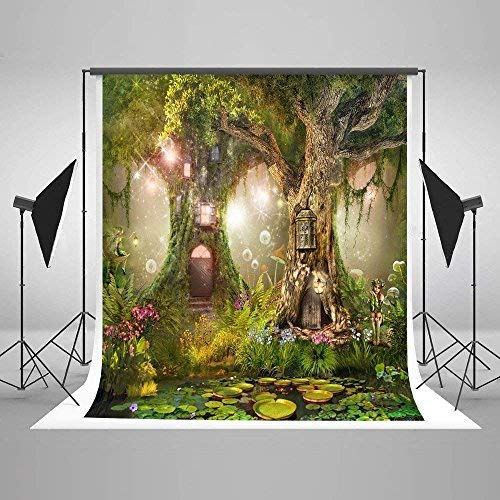 (Fairytale Photography Backdrop 5x7 Green Tree Forest Outdoor Newborn Photo Studio Background Kids Baby Birthday Picture)