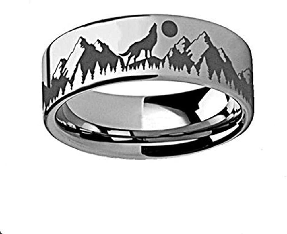 Thorsten Animal Nature Landscape Reindeer Deer Stag Mountain Range Ring Black Tungsten Ring 6mm Wide Wedding Band from Roy Rose Jewelry