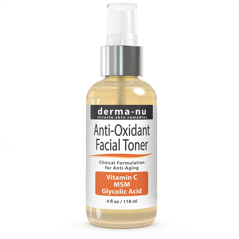 Skin Toner - Anti Oxidant Facial Toning Spray By Derma-nu - Enriched with MSM, Vitamin C, Glycolic Acid and Witch Hazel - 4oz