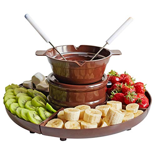 Chocolate Fondue Set - 3-in-1 Candy Maker - Chocolate Dipping Pot - Gummy Bear Maker - Chocolate Candy Making Kit - Electric Melting Pot and Silicone Candy Molds