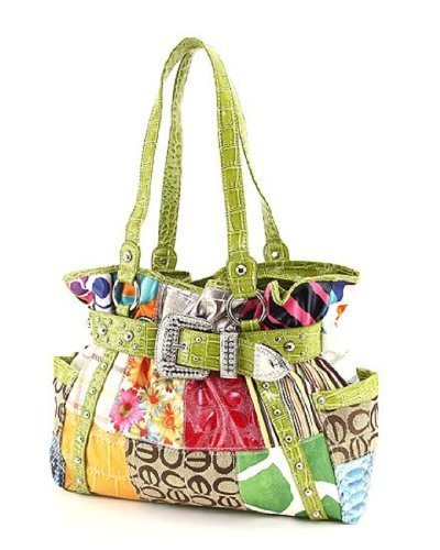 Multi Pattern Patchwork Tote Handbag with Rhinestone Buckle Accent (Multi/Green) (Buckle Tote Side)