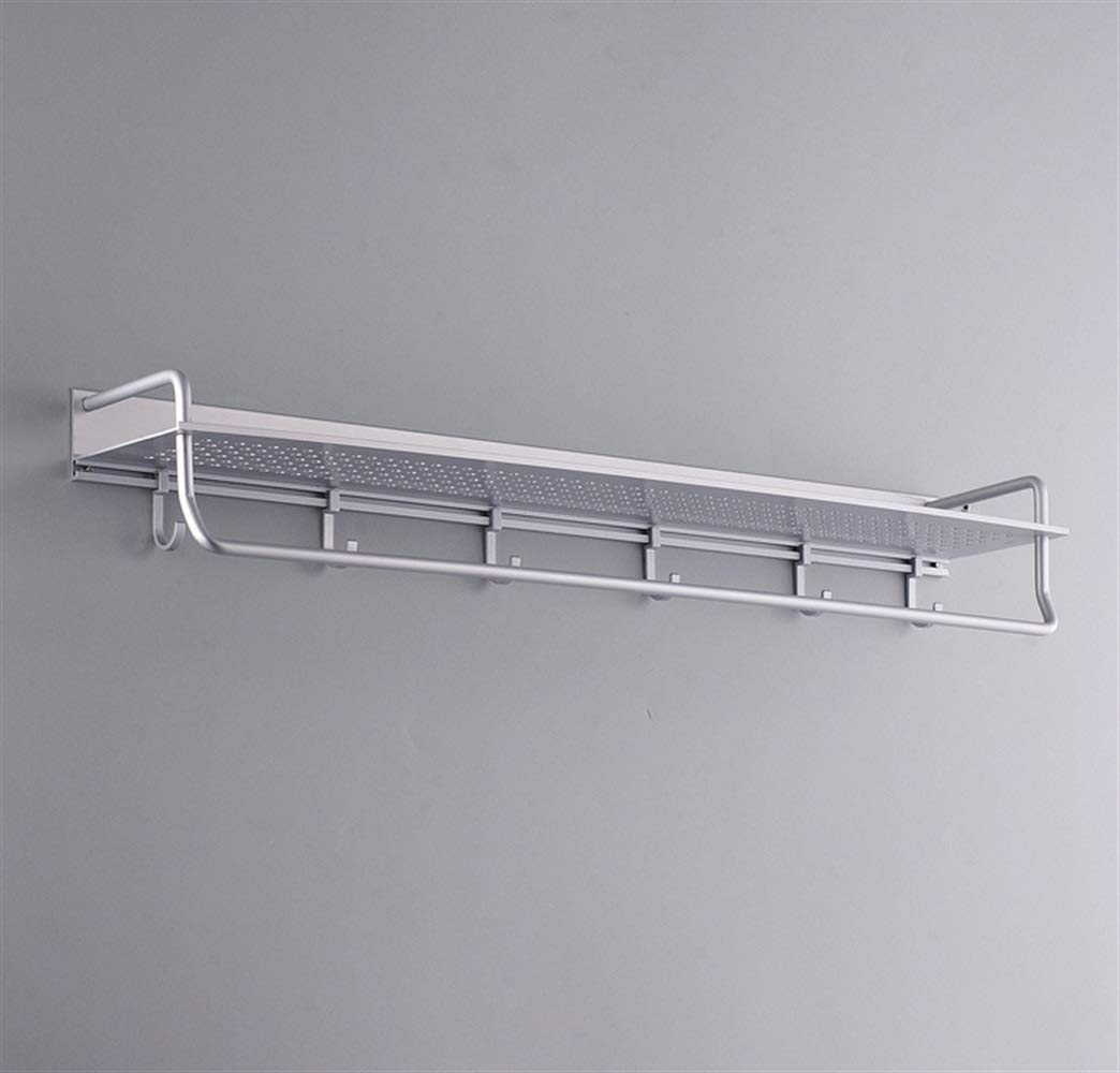 Sevenpring Storage Rack Multifunctional Solid Thickened Space Aluminum Kitchen/Bathroom Shelf with Rod with 6 Hooks