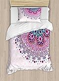 Ambesonne Mandala Duvet Cover Set Twin Size, Ethnic Ornamental Figure Meditation Spiritual Zen Boho Style Print, Decorative 2 Piece Bedding Set with 1 Pillow Sham, Pale Pink Teal Purple