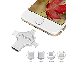 32GB Portable USB Flash Drive – 4 in 1 Thumb Drive Zonciny External USB Stick Memory Stick for iPhone Android Mobile Phone Pendrive for iPad Macbook Laptop and PC Devices