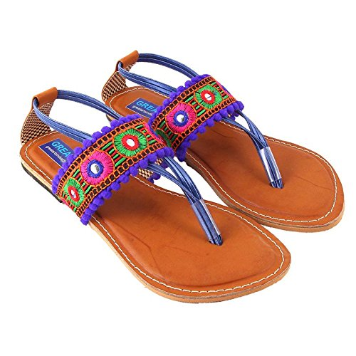 7265751f1 Rajasthani-Fashion Women s Synthetic Blue Sandals (4)  Buy Online at Low  Prices in India - Amazon.in