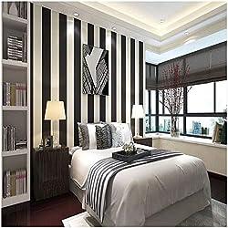 QIHANG Modern Minimalist Vertical Striped Pvc Wallpaper Black&white Color 0.53m10m=5.3m2