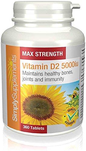 Vitamina D2 5000iu Extra Fuerte - 360 comprimidos - 1 año de suministro - Conocida como