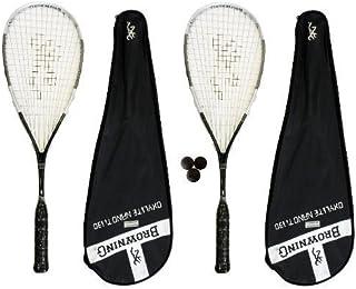 Browning Oxylite Nano 2 x 130 Lot de 2 raquettes de Squash avec balles de 3 Squash RRP £ 435
