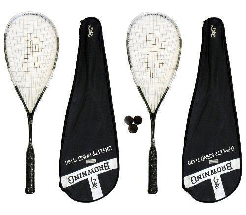 2 x Browning Oxylite Nano 130 Squash Rackets + 3 Squash Balls