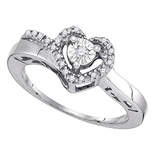Sonia Jewels Size 5-925 Sterling Silver Round Diamond Heart Love Promise Ring (1/10 ()