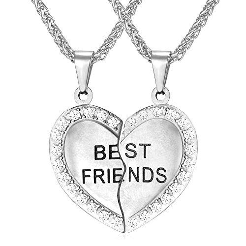 Necklace Rhinestone Friendship Pendant Engraved