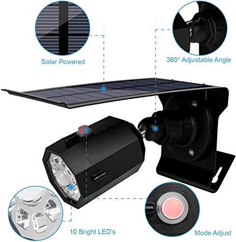 Fugetek Motion Sensor Outdoor Security Light and Dummy Camera, Solar Powered, Wireless, 3 Modes, IP65, Waterproof, 10 Bright LEDs, Rechargeable, Yard, ...