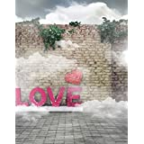 5x7ft Brick Wall Love Heart Photography Background Computer-Printed Vinyl Backdrops