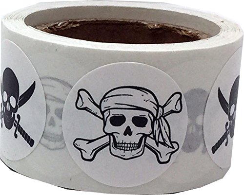 Party Supplies Salt Lake City Utah (Pirate Stickers Skull and Crossbones Swords White Round Circle Dots 3/4 Inch 100 Total Labels)