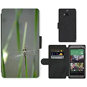 GoGoMobile PU LEATHER case coque housse smartphone Flip bag Cover protection // M00117977 Libélula Insecto Insectos Insectos Bug // HTC One M8