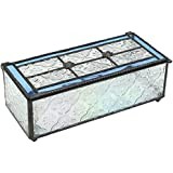 J Devlin Box 508 Pale Blue Stained Glass Keepsake Jewelry Box Decorative Vintage Home Accent Trinket Box