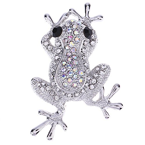 Trendyest Women Kids Alloy Shining Rhinestones Frog Animal Brooch Collar (Austrian Crystal Frog Pin)