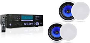 4-Channel Wireless Bluetooth Power Amplifier - Pyle PD1000BA & 2-Way In-Wall In-Ceiling Speaker System - Dual 8 Inch 300W Pair of Ceiling Wall Flush Mount Speakers w/ 1
