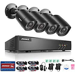 ANNKE 8-Channel HD-TVI Security System 1080P Lite Video DVR Recorder with 1TB Surveillance Hard Drive and (8) 960p 1.3Megapixels Weatherproof Bullet Cameras, QR Code Scan, Smart Recording and Playback
