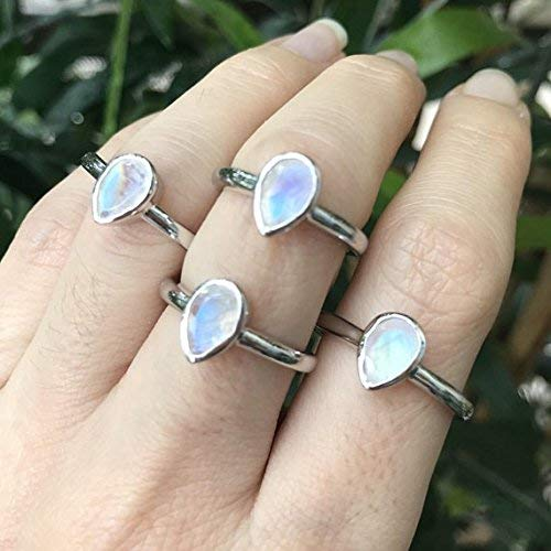 Rainbow Moonstone Faceted Sterling Silver Stacking Ring Rainbow Moonstone Birthstone Ring Gift For Her Rainbow Moonstone