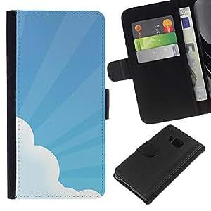 EJOY---La carpeta del tirón la caja de cuero de alta calidad de la PU Caso protector / HTC One M9 / --Sky Sun irradia Nube Azul blanco del arte