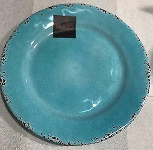 IL Mulino Melamine Set of 4 Salad Plates RUSTIC TURQUOISE BLUE