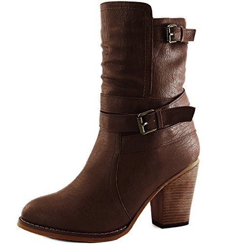DailyShoes Women's Western Cowboy Strappy Buckle Chunky Ankle High Heel Boot, (Cowboy Heels)